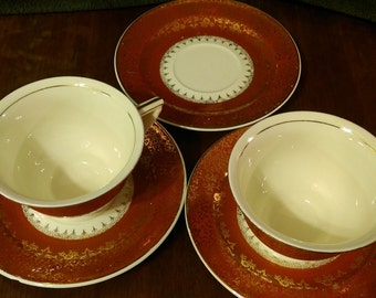 Price Reduced: Elegant 22k gold Edwin Knowles Pair of Tea Cups