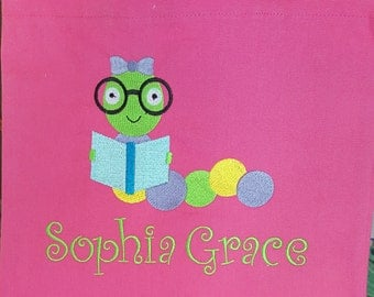 Personalized Kids Tote Bag - Book Worm Girl