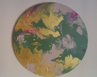 "Acrylic Marble Effect Circle Canvas - 20""/50cm - Jade, Metallic Gold & Blush Nude"