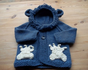 Lion Hoodie, handmade, baby jacket, Leo baby, hooded top, shower gift, animal hoodie, knitted, neutral first coat, cat clothes, baby knit
