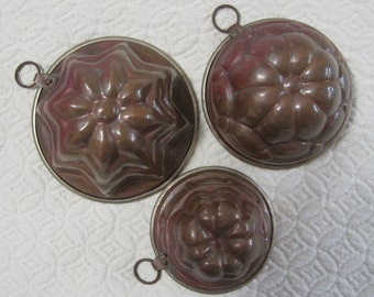 Copper Molds, Set of Three (3), Vintage