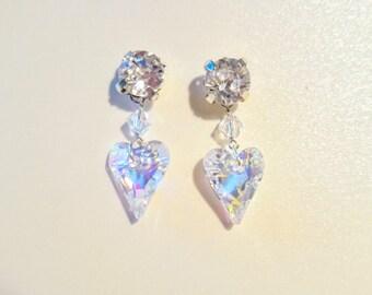 Bridal silver heart shaped Swarovski crystal earrings, Wedding heart shaped crystal earrings, Wedding 925 silver Swarovski crystal earrings