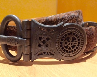Medieval Hand Forged and Chiseled Buckle with Cowhide strap