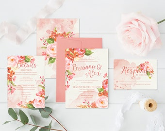 PRINTABLE Wedding Invitation Suite // Romantic Garden Wedding Invitation Bundle // Invitation, RSVP, Thank You Card, Save the Date