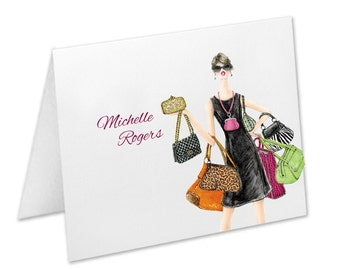Purses Handbags Personalized Note Cards Stationery Thank You Cards Fun Note Cards Best Friend Birthday Gift Aunt Sister Sister-in-Law