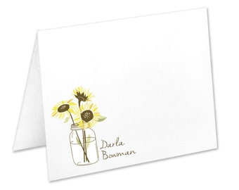 Personalized Sunflower Stationery, Sunflower Note Cards, Flowers In A Mason Jar, Mason Jar Stationery, Sunflower Stationary, Sunflower Cards