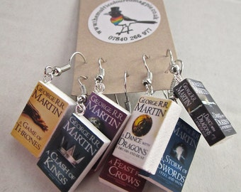 "Game of Thrones Book Earrings from ""The Earring Library"""