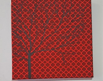 Red and black hand painted tree