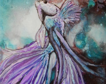 Lavender Dancer, Siamese Fighting fish in Alcohol ink on 11x14 Yupo paper