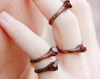 Boho Rings: tiny rings, garnet ring, raw stone ring, promise ring for her, stone promise ring trending rings, solitaire gemstone rings rough