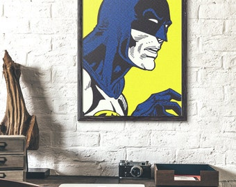 poster batman, pop art, roy lichtenstein, vintage poster, dots poster, yellow prints, batman, roy lichtenstein poster, affiche batman, comic