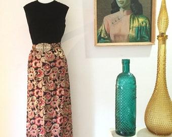 Vintage velvet & metallic brocade 1960s madmen style hostess maxi dress