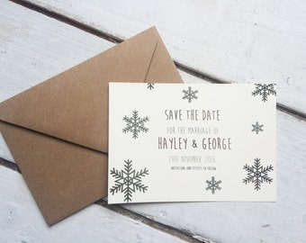 silver winter wedding save the date, rustic save the date, winter wedding save the date