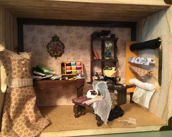 Miniature 1/12 Scale Sewing Room