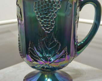 Indiana Blue Carnival Glass Harvest Pitcher