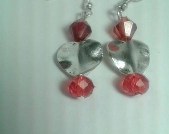 Silver Heart earrings with red crystals and silver earwire