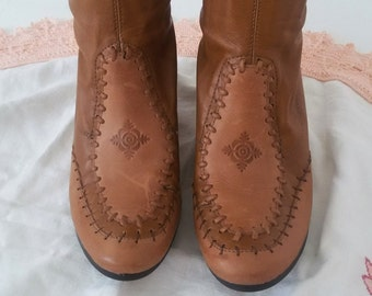 Heel platform boots, size 37, Camel brown boots Ladies boots Womens boots