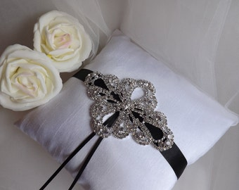 Silk Ring Bearer Pillow, Black Ring Pillow, Ring Pillow, Wedding Ring Pillow, Elegant Ring Pillow, Satin Ring Pillow, Ring Bearer Pillow