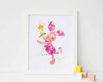 Disney Piglet Poster Winnie The Pooh Watercolor print, Piglet print, Watercolor artwork, Watercolor nursery, Watercolor decor watercolor art