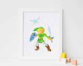 Zelda Print, Link Legend of Zelda Watercolor Art, Nursery Link print Kids Bedroom Decor, zelda wall art, zelda poster, Link poster Link Gift
