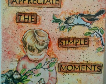 "Mixed Media Painting Collage ""Appreciate the Simple Moments"" OOAK 10x10 Wrapped Canvas Children's Wall Art"