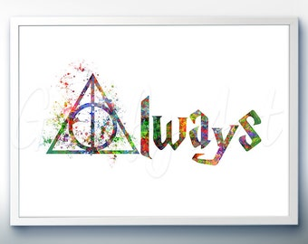 Harry Potter and the Deathly Hallows Watercolor Poster Print - Watercolor Painting - Watercolor Art - Kids Decor- Nursery Decor