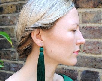 Dark Green Tassel Earrings
