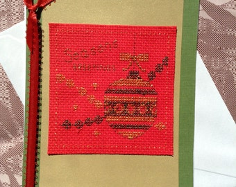 Cross Stitch Card, Cross Stitch Christmas Card, Seasons Greetings Cross Stitch Card, Red, Gold, Green Card, Card With Ribbon, Blank Card