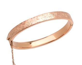 Engraved Rose Gold Bangle