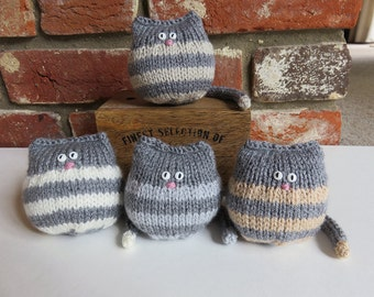 Soft Grey Stripey Hand Knitted Cat