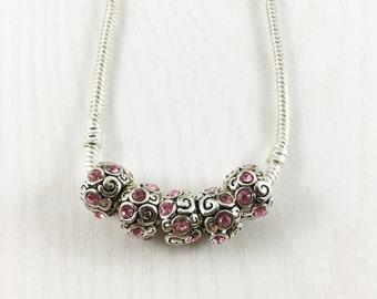 Pink Rhinestone Silver Spacer Beads, European Bead, Large Hole Beads, Rhinestone Bead, European Bracelet, European Charm Beads, EB1164