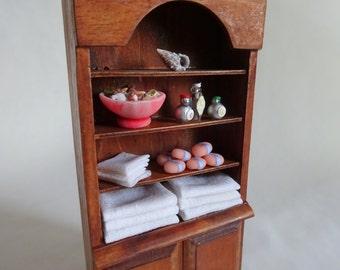 Dollhouse miniature bathroom cupboard, 1:12 scale handmade soap towel seashell display