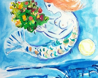"Marc Chagall - watercolor copy of  ""La Baie des Anges"" - Nice, France - Wall decor, home decor"