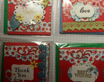 set of 4 flowers and lace handmade individually designed 3x3 gift cards