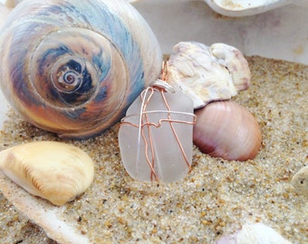 Clear Groovy Wire Wrapped Sea Glass Pendant