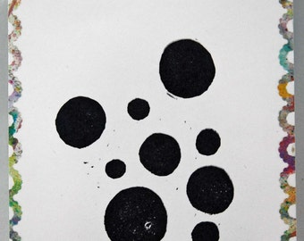 """Un-mounted, hand carved rubber stamp """"Circles"""""""