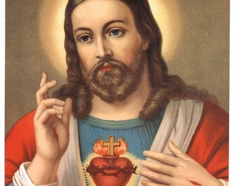 Sacred Heart of Jesus Print Picture 8x10 Catholic Art from Italy