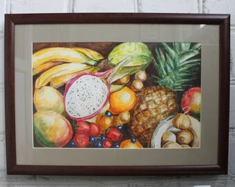 Original Watercolor Painting Fruits Fruit Still Life Framed Art Kitchen Decor Watercolor painting Watercolor art  Fruit  Decor