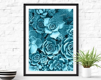 Succulent Print, Cactus Wall Art Print, Cactus Art, Blue Cactus Art, Watercolor Succulent, Botanical Print, Succulent Wall Art Print, Cacti