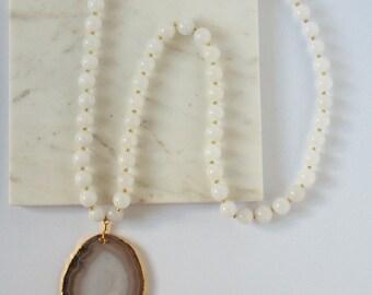 Large Quartz Beaded Necklace with Large Agate Druzy Grey Pendant