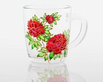 Hand Painted Coffee Mug, Pink Peonies, Hand Painted Glassware, Gift for Mom, Floral Mug,Flowers