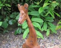 Hand Carved Solid Wood Giraffe Handmade in Kenya Tall Wooden Safari Animal Carving Figurine