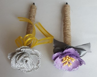 Purple, Yellow, Gray Wedding Rustic Jute-wrapped Guest Book Handmade Flower Pen ITEM 225