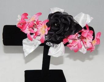 Pink & Black Flower Corsage