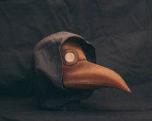 Plague Doctor Mask, Leather Brown Plague Mask, Medieval Bird Mask, Steampunk Masquerade Halloween Mask