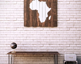 Africa Wood Map - Reclaimed Pallet Boards - Wood Sign