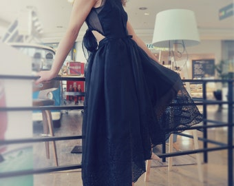 Black silk organza dress, evening dress, prom dress, cocktail dress, dress up down, 50 years dress, party dress, lace dress, made to measure