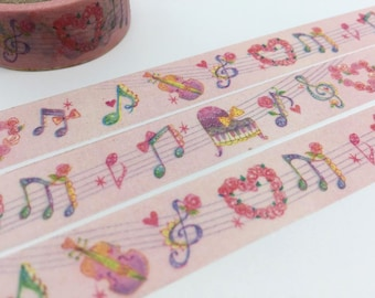 Music washi tape 5M Music note piano violin Music decor masking tape I love music sticker tape music decor gift wrapping scrapbook