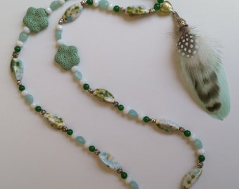 Natural feather's bouquet charm and beads necklace
