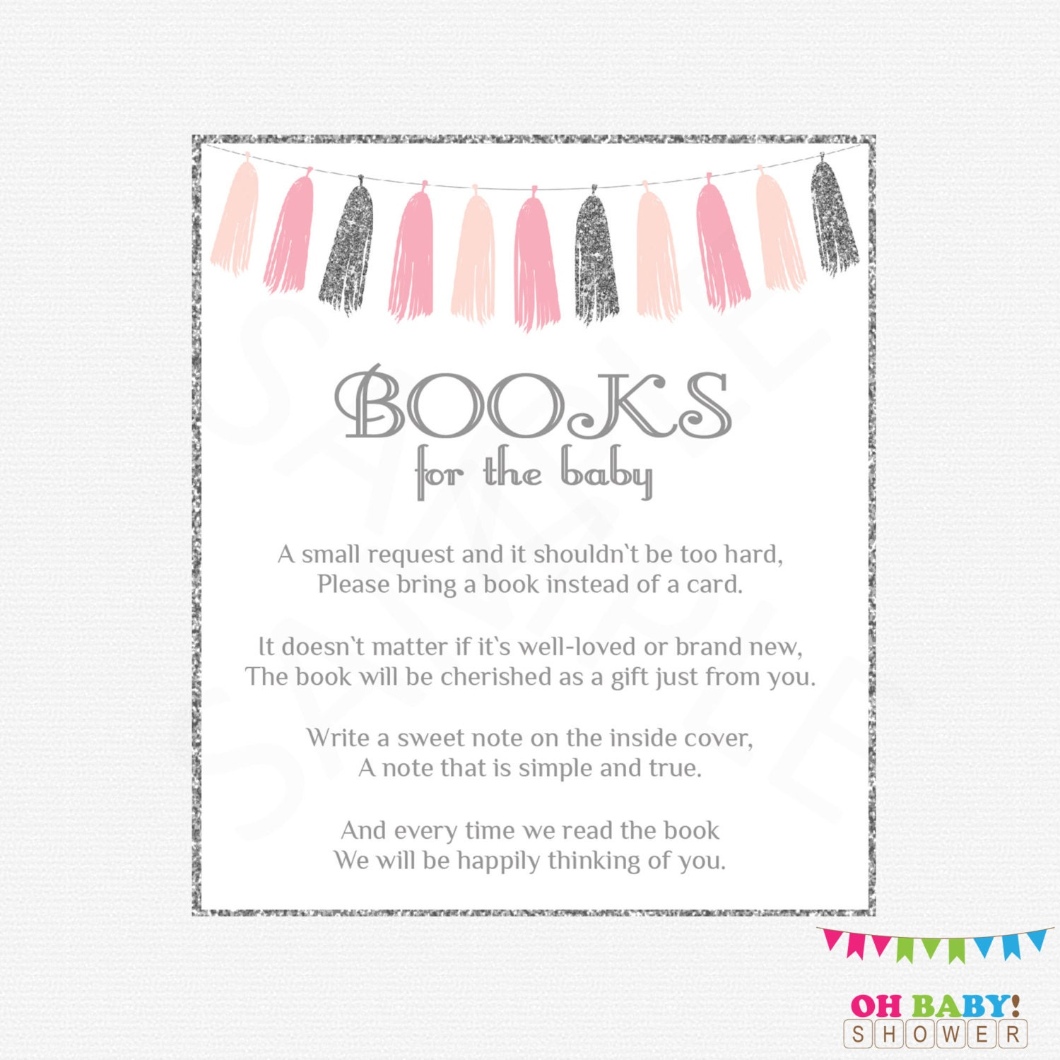 pink and silver baby shower book request bring a book
